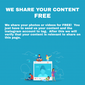 We share your photos or videos for FREE. You just have to send us your content and the instagram account to tag. After this we will verify that your content is relevant to share on this page.